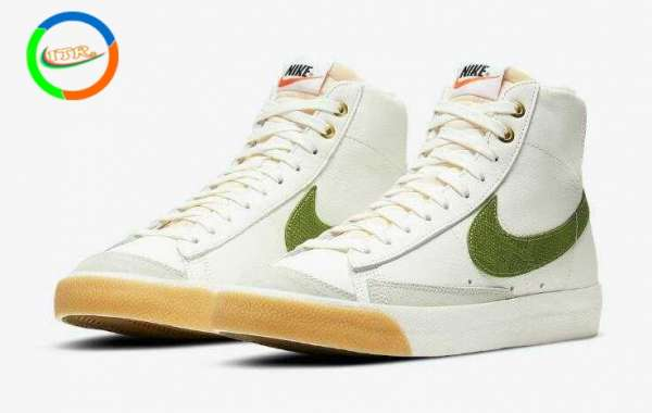 Nike Blazer Mid '77 Mid White Come With Green Snakeskin Swooshes