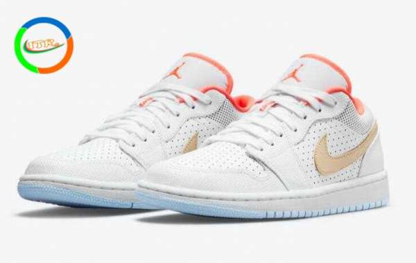 Air Jordan 1 Low SE White Sesame New Release with Perforated Leather