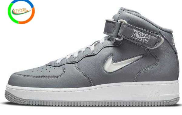 """Newest Nike Air Force 1 Mid NYC """"Cool Grey"""" Got Jeweled Swooshes"""